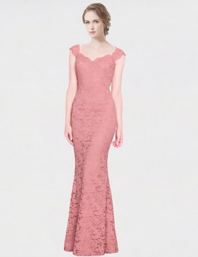 Mermaid Fit and Flare Strapless Sweetheart Floor Length Long Pink Lace Paola Bridesmaid Dress for Sale