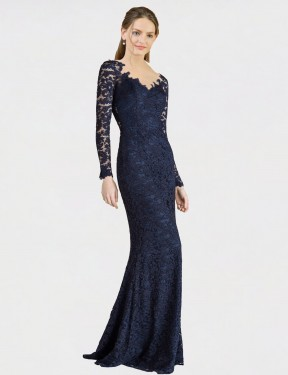 Mermaid Fit and Flare Sweetheart Floor Length Long Dark Navy Lace Avalynn Bridesmaid Dress for Sale