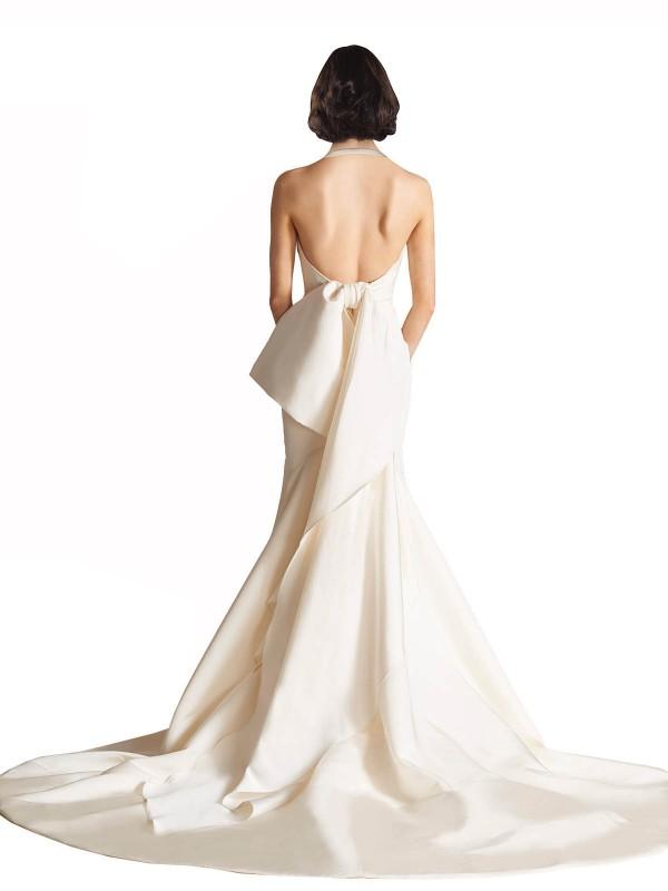 Mermaid Halter Chapel Train Long Ivory Satin Leia Wedding Dress for Sale