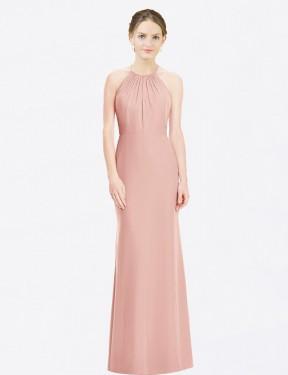 Mermaid Halter Floor Length Long Bliss Chiffon Mira Bridesmaid Dress for Sale