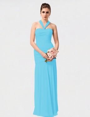 Mermaid Halter Floor Length Long Sky Blue Chiffon Dorothy Bridesmaid Dress for Sale