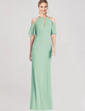Mermaid Halter Long Mint Green Chiffon Mio Bridesmaid Dress for Sale