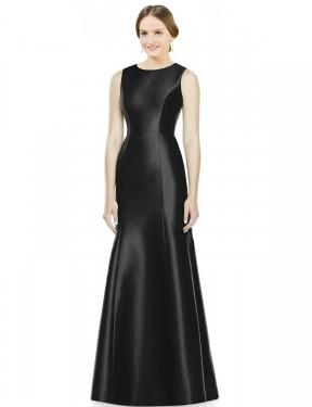 Mermaid High Neck Floor Length Long Black Satin Maryam Bridesmaid Dress for Sale