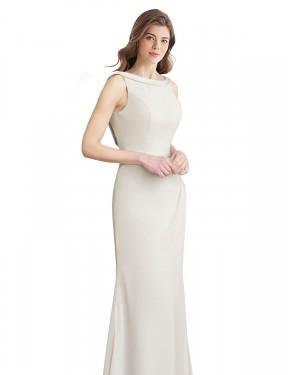 Mermaid High Neck Floor Length Long Chiffon & Satin Dorine Bridesmaid Dress for Sale