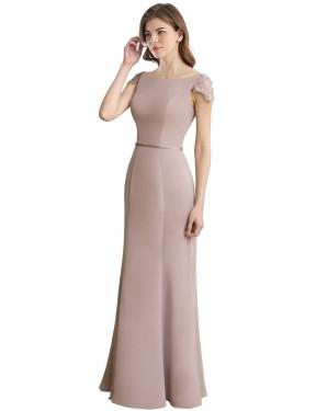 Mermaid High Neck Round Neck Floor Length Long Chiffon & Lace Goodine Bridesmaid Dress for Sale