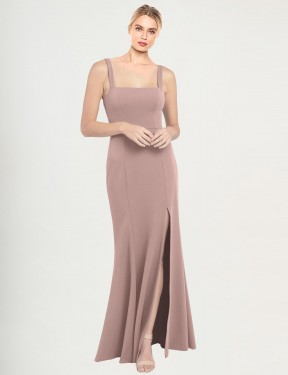Mermaid High Neck Square Floor Length Long Dusty Pink Stretch Crepe Fernella Bridesmaid Dress for Sale