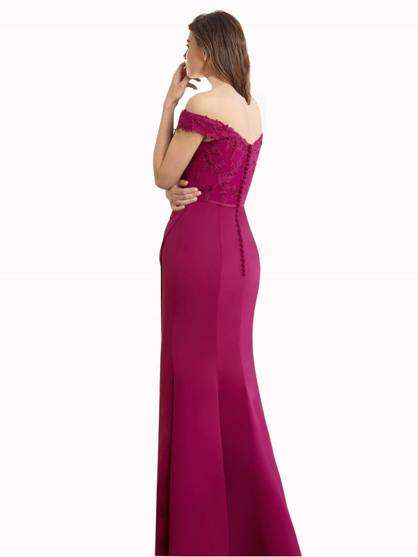 Mermaid High Neck Sweetheart Off the Shoulder Floor Length Long Chiffon & Lace Cesar Bridesmaid Dress for Sale