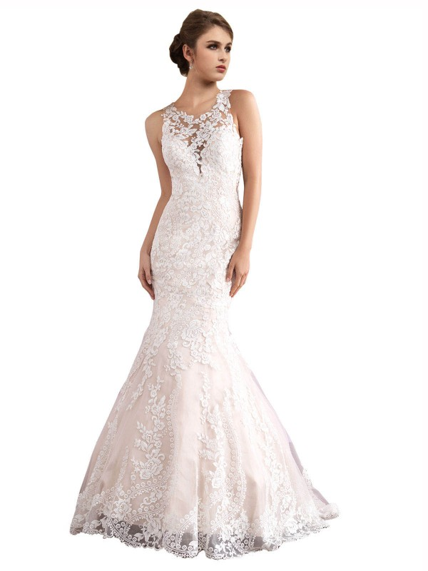 Mermaid Illusion Cathedral Train Long Ivory & Champagne Tulle Amiyah Wedding Dress for Sale