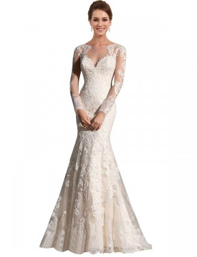 Mermaid Illusion Chapel Train Long Ivory & Champagne Lace & Tulle Aliyah Wedding Dress for Sale