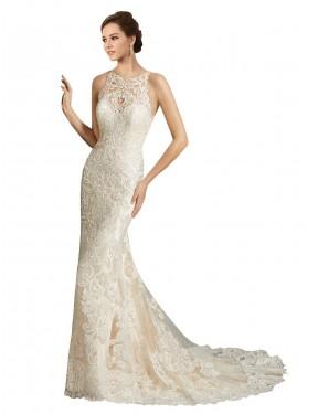 Mermaid Illusion Chapel Train Long Ivory & Champagne Tulle Teagan Wedding Dress for Sale