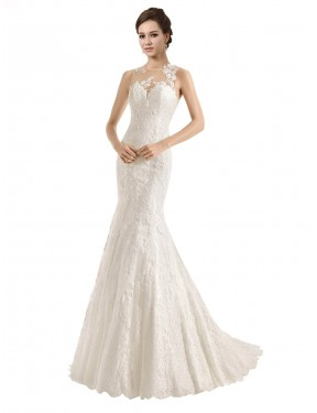 Mermaid Illusion Chapel Train Long Ivory Lace Catalina Wedding Dress for Sale