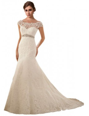 Mermaid Illusion Chapel Train Long Ivory Lace & Tulle Finley Wedding Dress for Sale