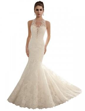 Mermaid Illusion Chapel Train Long Ivory Lace Valeria Wedding Dress for Sale