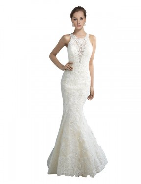 Mermaid Illusion Chapel Train Long Ivory Tulle Lucille Wedding Dress for Sale