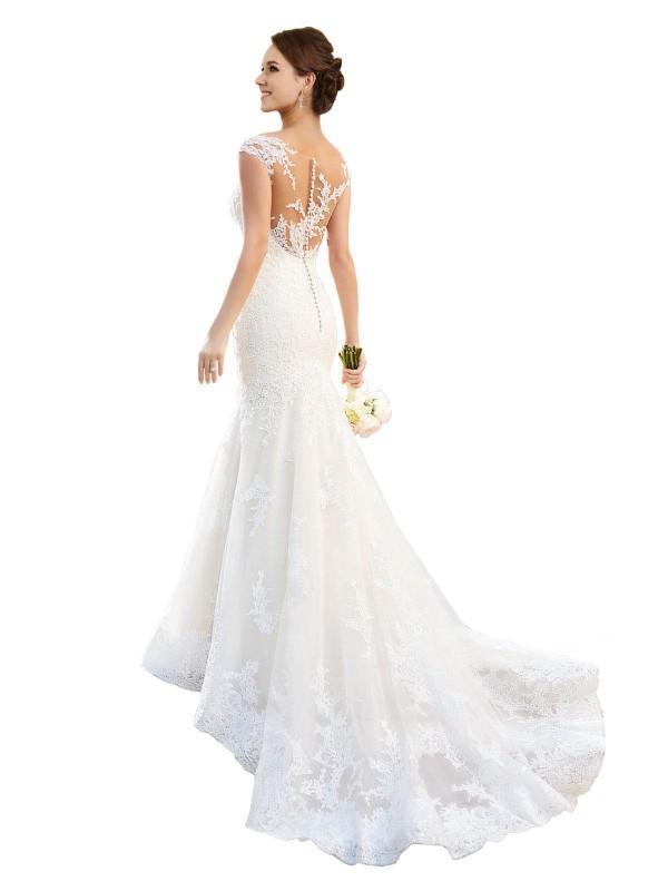 Mermaid Illusion Chapel Train Long White Lace Alivia Wedding Dress for Sale