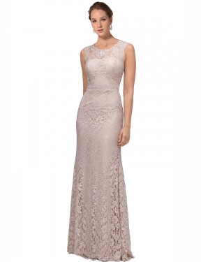 Mermaid Illusion Scoop Floor Length Long Pink Lace Emberly Bridesmaid Dress for Sale