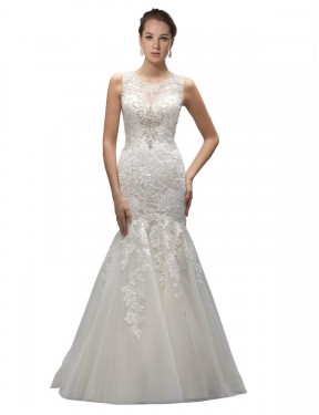Mermaid Illusion Sweep Train Long Ivory Tulle Gabrielle Wedding Dress for Sale