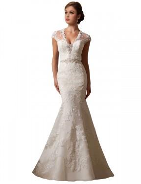 Mermaid IllusionV-Neck Chapel Train Long Ivory Lace & Tulle Charlie Wedding Dress for Sale
