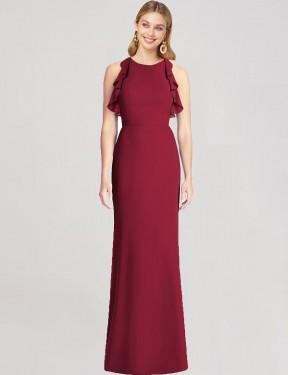Mermaid Jewel Floor Length Long Burgundy Chiffon Maja Bridesmaid Dress for Sale