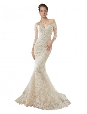 Mermaid Off the Shoulder Chapel Train Long Ivory & Champagne Lace & Tulle Blake Wedding Dress for Sale