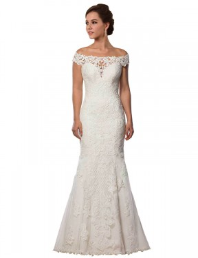 Mermaid Off the Shoulder Chapel Train Long Ivory Lace Michelle Wedding Dress for Sale