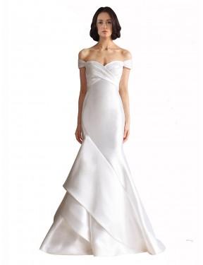 Mermaid Off the Shoulder Chapel Train Long White Satin Kate Wedding Dress for Sale