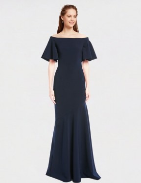 Mermaid Off the Shoulder Floor Length Long Dark Navy Stretch Crepe Kamela Bridesmaid Dress for Sale
