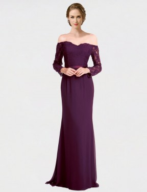 Mermaid Off the Shoulder Floor Length Long Grape Chiffon & Lace Lindsey Bridesmaid Dress for Sale