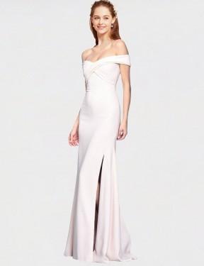 Mermaid Off the Shoulder Floor Length Long Ivory Stretch Crepe Jahnita Bridesmaid Dress for Sale