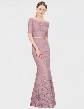 Mermaid Off the Shoulder Floor Length Long Pink Lace Scarlette Bridesmaid Dress for Sale