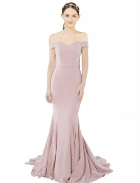 Mermaid Off the Shoulder Floor Length Long Primrose Stretch Crepe Judith Bridesmaid Dress for Sale