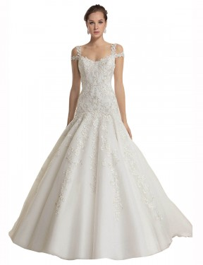 Mermaid Off the Shoulder Sweep Train Long Ivory Lace & Tulle Miriam Wedding Dress for Sale