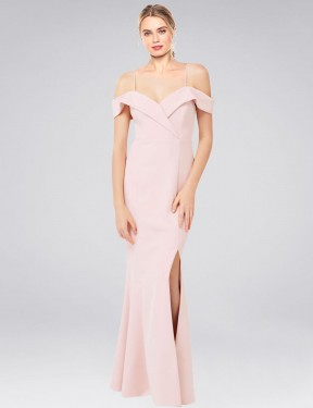 Mermaid Off the Shoulder Sweetheart Floor Length Long Pink Stretch Crepe Cronin Bridesmaid Dress for Sale