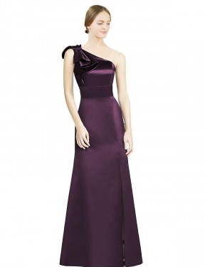 Mermaid One Shoulder Floor Length Long Grape Satin Kaitlyn Bridesmaid Dress for Sale