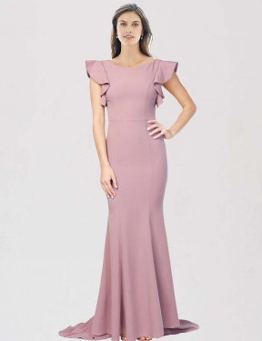 Mermaid Round Neck Sweep Train Floor Length Long Dusty Pink Stretch Crepe Eden Bridesmaid Dress for Sale