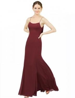 Mermaid Scoop Floor Length Long Burgundy Chiffon Estella Bridesmaid Dress for Sale