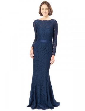 Mermaid Sheath Jewel Sweep Train Floor Length Long Dark Navy Lace Susan Bridesmaid Dress for Sale