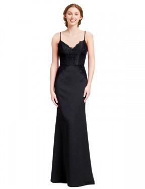 Mermaid Spaghetti Straps V-Neck Floor Length Long Black Chiffon Marie Bridesmaid Dress for Sale