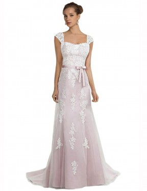 Mermaid Strapless Sweep Train Long Ivory & Pink Tulle & Lace Logan Wedding Dress for Sale