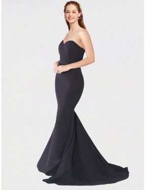 Mermaid Strapless Sweetheart Floor Length Long Black Stretch Crepe Nana Bridesmaid Dress for Sale