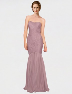 Mermaid Strapless Sweetheart Floor Length Long Pink Tulle Erica Bridesmaid Dress for Sale