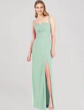 Mermaid Strapless V-Neck Spaghetti Straps Floor Length Long Mint Green Chiffon Yanira Bridesmaid Dress for Sale