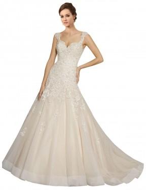 Mermaid Sweetheart Chapel Train Long Ivory & Champagne Tulle Amaya Wedding Dress for Sale