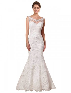 Mermaid Sweetheart Chapel Train Long Ivory Lace Alina Wedding Dress for Sale