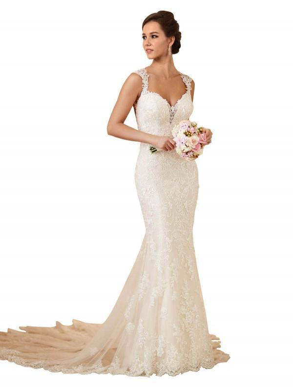 Mermaid Sweetheart Chapel Train Long Ivory Lace Joanna Wedding Dress for Sale