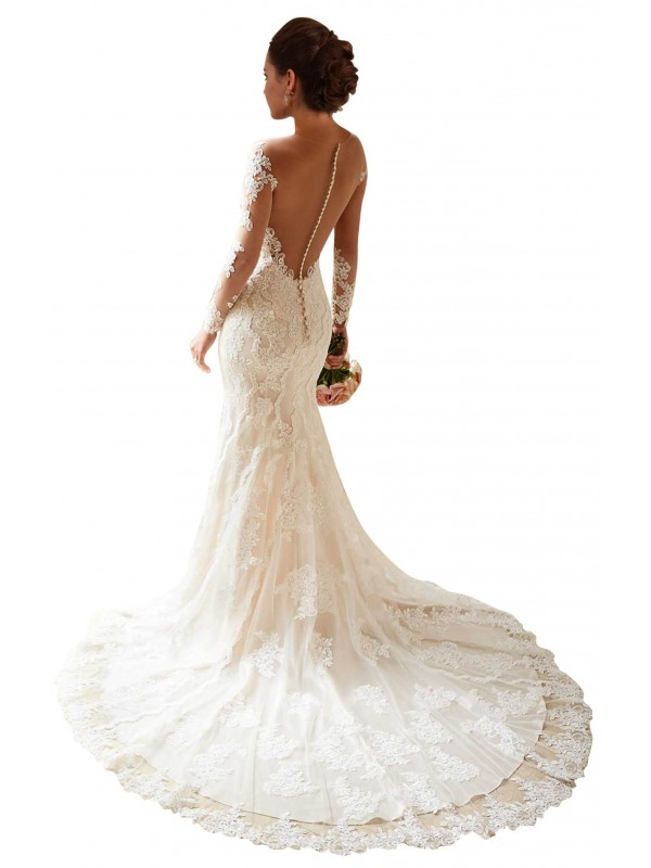 Mermaid Sweetheart Chapel Train Long Ivory Lace Mckenzie Wedding Dress for Sale