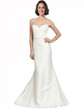 Mermaid Sweetheart Chapel Train Long Ivory Satin Elsie Wedding Dress for Sale