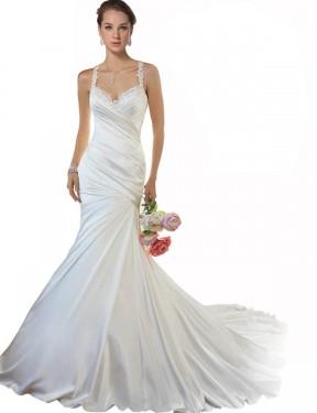 Mermaid Sweetheart Chapel Train Long Ivory Satin Makenzie Wedding Dress for Sale