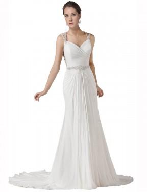 Mermaid Sweetheart Chapel Train Long White Chiffon Lilah Wedding Dress for Sale