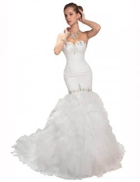 Mermaid Sweetheart Chapel Train Long White Organza Kamila Wedding Dress for Sale